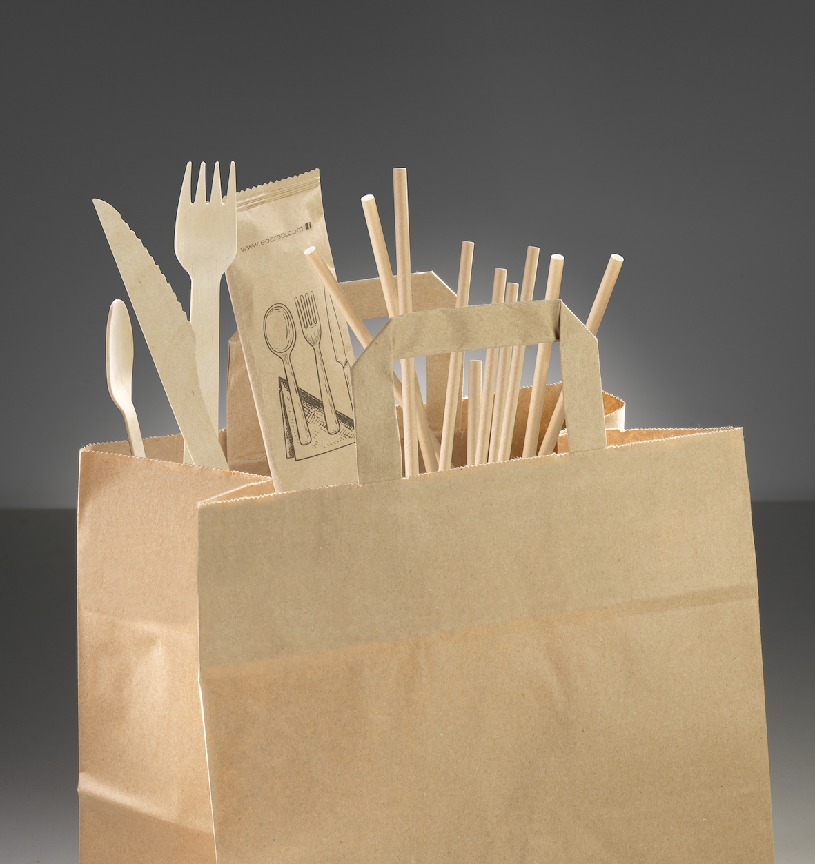 soustainable and compostable straws, cutlery and paper bag